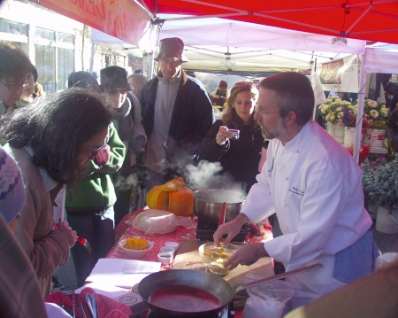 Chef Peter Birk from Ray's Boathouse, Ballard's venerable seafood restaurant, explains to market shoppers how to make winter squash gnocchi.  Photo copyright 2008 by Zachary D. Lyons.