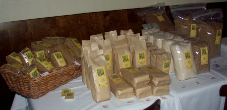 A display of Bluebird Grain Farms products at a Seattle Chefs Collaborative event in 2007. Photo copyright 2007 by Zachary D. Lyons.