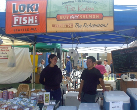 Loki Fish, which makes its home at Ballard's Fishermen's Terminal, back at Ballard Farmers Market. Photo copyright 2009 by Zachary D. Lyons.