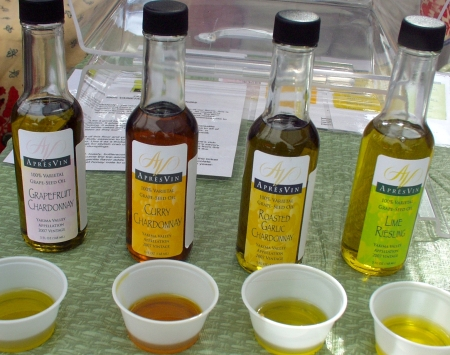 Just a sampling of the many flavors of grapeseed oils made by Prosser's Apres Vin. Photo copyright 2009 by Zachary D. Lyons.