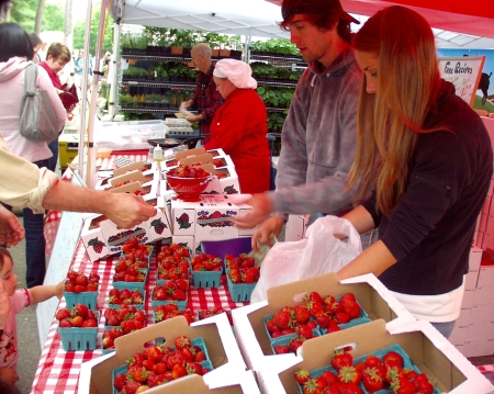 Hayton Farms is back at the Market with their famous strawberries. Photo copyright 2009 by Zachary D. Lyons.