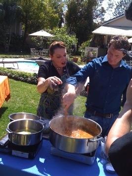 Poppy Tooker with Bobby Flay on the Food Network's gumbo challenge. Photo courtesy /www.poppytooker.com