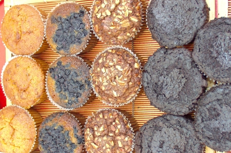 Look at all the lovely muffins from Flying Apron. Photo copyright 2009 by Zachary D. Lyons.