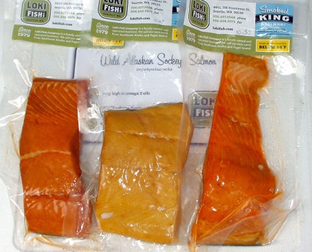 Freshly-smoked Alaskan king salmon from Loki Fish. Photo copyright 2009 by Zachary D. Lyons.
