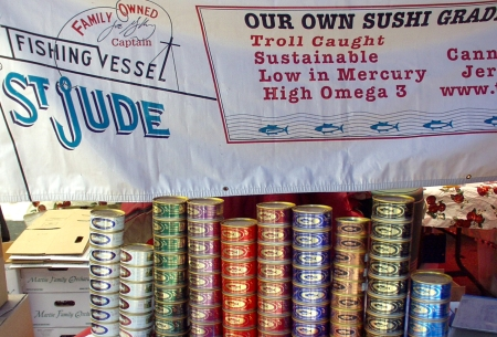 A rainbow of labels on cans of St. Jude tuna. Photo copyright 2009 by Zachary D. Lyons.