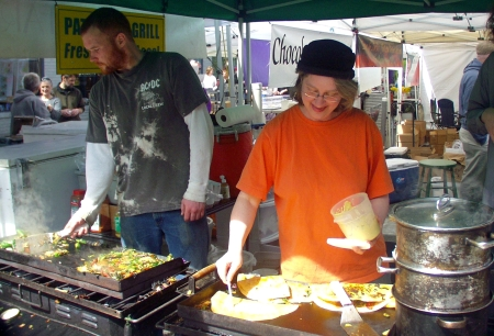 Slinging veggie quesadillas at Patty Pan Grill. Photo copyright 2009 by Zachary D. Lyons.