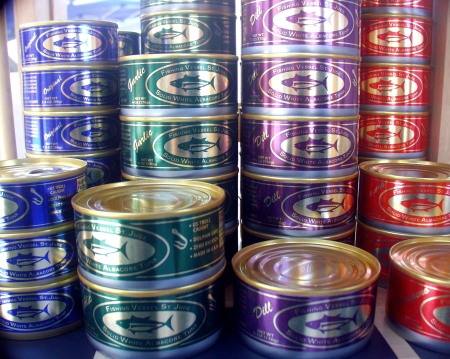 Cans of albacore tuna from Fishing Vessel St. Jude. Copyright 2009 by Zachary D. Lyons.