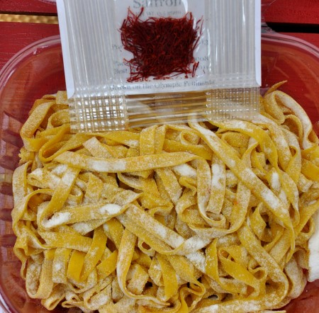 Saffron tagliatelle from Pasteria Lucchese. Photo copyright 2011 by Zachary D. Lyons.