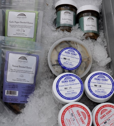 Smoked, pickled & shucked oysters from Hama Hama Oyster Company at Ballard Farmers Market. Copyright Zachary D. Lyons.