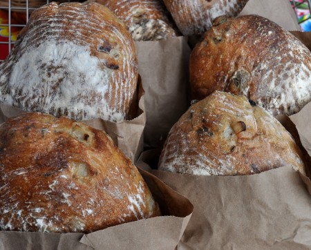 Olive fougasse loaves from Tall Grass Bakery. Photo copyright 2011 by Zachary D. Lyons.