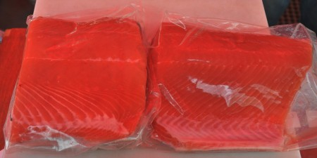 Fresh Puget Sound Keta salmon fillets from Loki Fish at Ballard Farmers Market. Copyright Zachary D. Lyons.