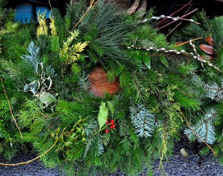 Fresh holiday wreath from Alm Hill Gardens. Photo copyright 2011 by Zachary D. Lyons.