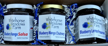 Gift packs from Whitehorse Meadows Blueberry Farm. Photo copyright 2012 by Zachary D. Lyons.