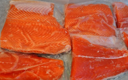 Fresh red king salmon from Wilson Fish.Photo copyright 2012 by Zachary D. Lyons.