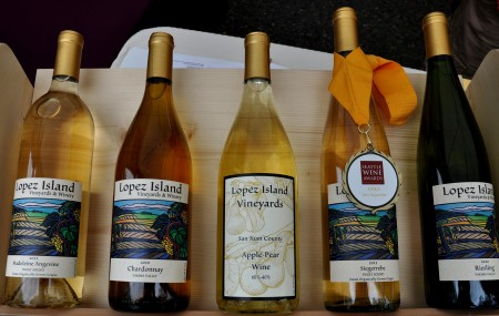 White wines from Lopez Island Vineyards. Photo copyright 2012 by Zachary D. Lyons.