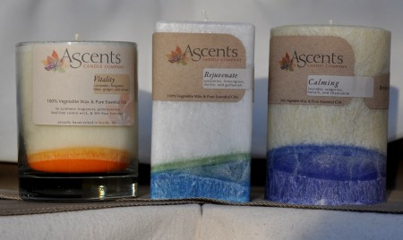 Non-toxic candles made with natural essential oils from Ascents Candles. Photo copyright 2012 by Zachary D. Lyons.