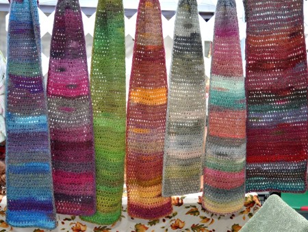 Knitted scarves from Gypsy Beaded Creations. Photo copyright 2012 by Zachary D. Lyons.