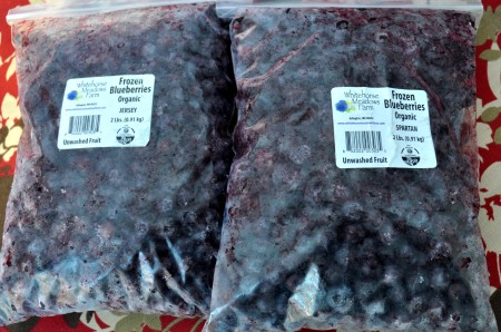 Frozen blueberries from Whitehorse Meadows Farm. Photo copyright 2012 by Zachary D. Lyons.