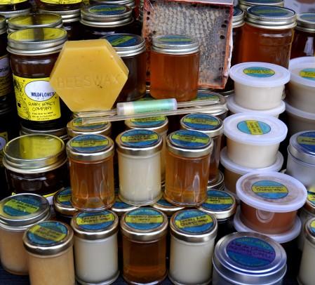 Honey & beeswax products from Sunny Honey. Photo copyright 2012 by Zachary D. Lyons.