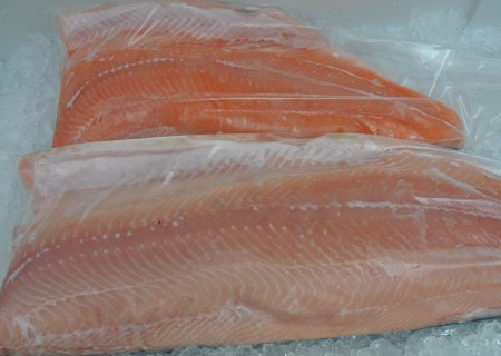 White king salmon sides from Wilson Fish. Photo copyright 2013 by Zachary D. Lyons.