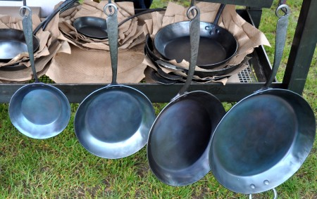 Hand-forged blue steele pans from Blu Skillet. Photo copyright 2013 by Zachary D. Lyons.
