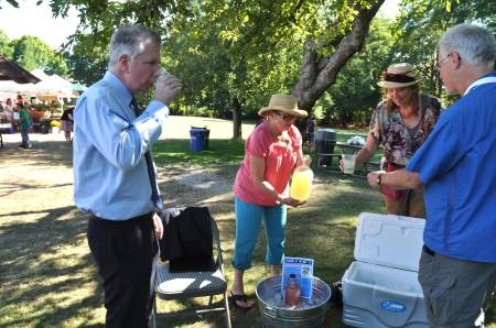 Sen. Ed Murray and Councilperson Richard Conlin enjoying Soda Jerk Soda at Wallingford Farmers Market. Photo copyright 2013 by Zachary D. Lyons.