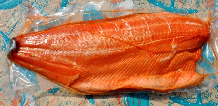 A smoked whole side of king salmon from Wilson Fish. Photo copyright 2013 by Zachary D. Lyons.