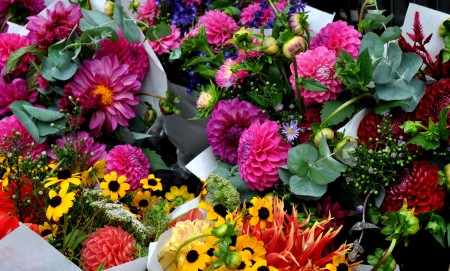 Fall flower bouquets from Mee Garden. Photo copyright 2013 by Zachary D. Lyons.