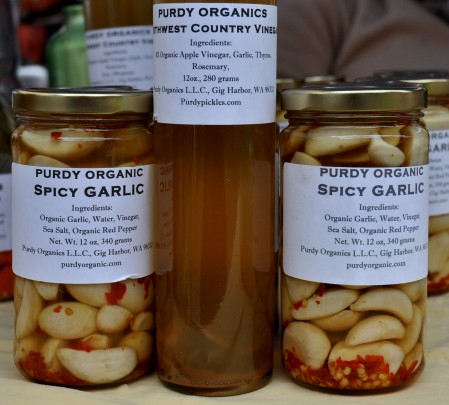 Spicy pickled garlic and Northwest Country vinegar from Purdy Pickle. Photo copyright 2013 by Zachary D. Lyons.