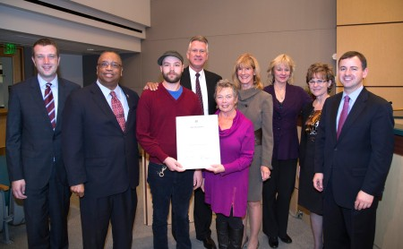 Judy & Gil receive recognition by the King County Council for Wallingford Farmers Market. Photo courtesy Councilman Larry Phillips office.