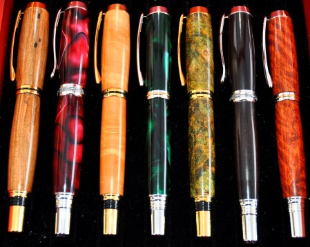 Hand-turned pens from Vern Tater Woodturner. Photo copyright 2013 by Zachary D. Lyons.