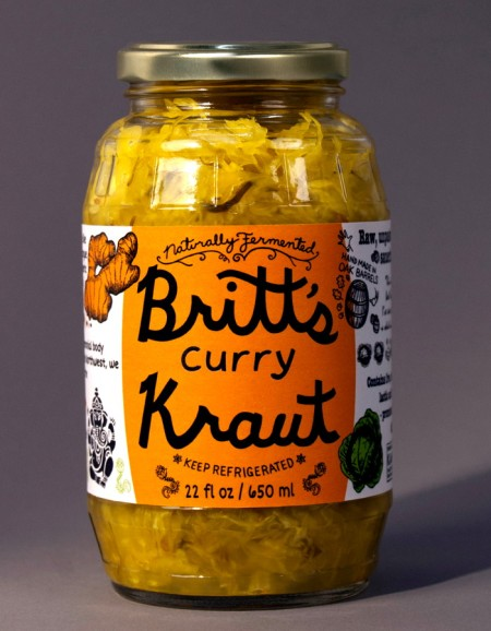 Britt's Curry Kraut. Photo courtesy Britt's Pickles.