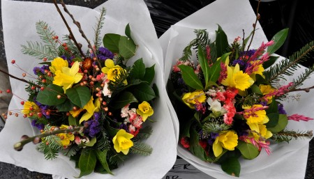 Bouquets with fresh daffodils from Children's Garden. Photo copyright 2014 by Zachary D. Lyons.