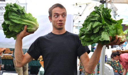 Huge heads of romaine lettuce from Boistfort Valley Farm. Photo copyright 2014 by Zachary D. Lyons.