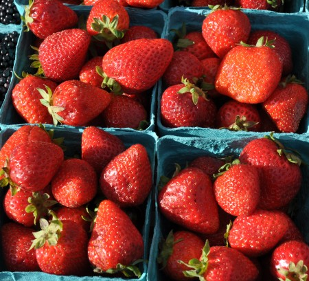 Late summer strawberries from Sidhu Farms at Ballard Farmers Market. Copyright Zachary D. Lyons.