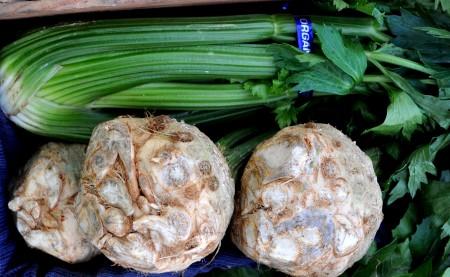 Celery and celeriac (celery root) from Boistfort Valley Farm at your Ballard Farmers Market. Copyright Zachary D. Lyons.