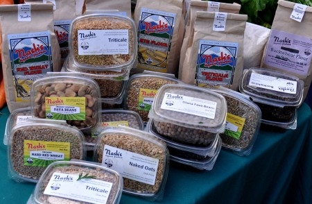 Dried grains, beans and seeds from Nash's Organic Produce at your Ballard Farmers Market. Copyright Zachary D. Lyons.