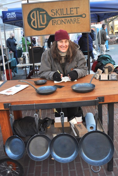 Forged iron cookware from BluSkillet at Ballard Farmers Market. Copyright Zachary D. Lyons.