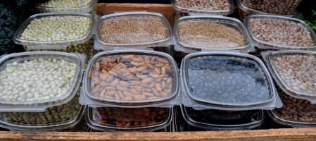 Hurrerite (left), tiger, black & pinto beans, and hard red wheat, from Kirsop Farm Ballard Farmers Market. Copyright Zachary D. Lyons.