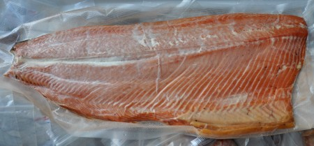Whole smoked side of King salmon from Wilson Fish at Ballard Farmers Market. Copyright Zachary D. Lyons.