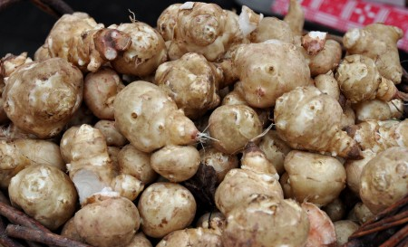 Sunchokes from Alm Hill Gardens (Growing Washington) at Ballard Farmers Market. Copyright Zachary D. Lyons.